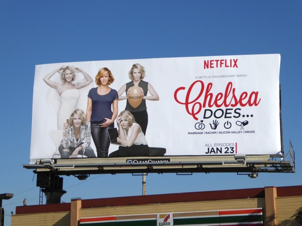 Chelsea Does documentary series billboard