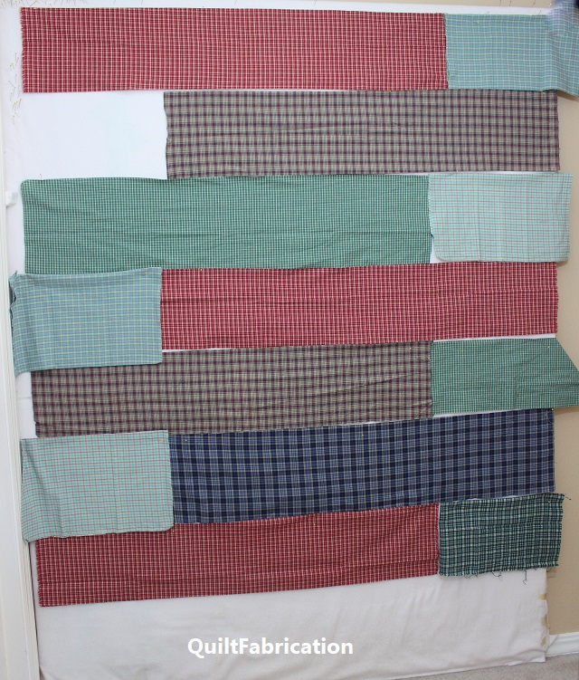 Quarter Cut quilt step 1 - layout with added fat quarters