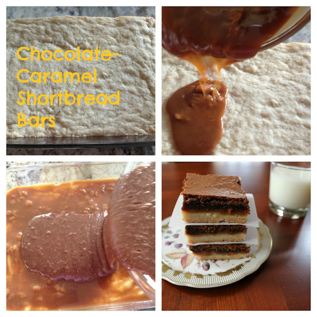 Step by step photos of caramel chocolate shortbread bars
