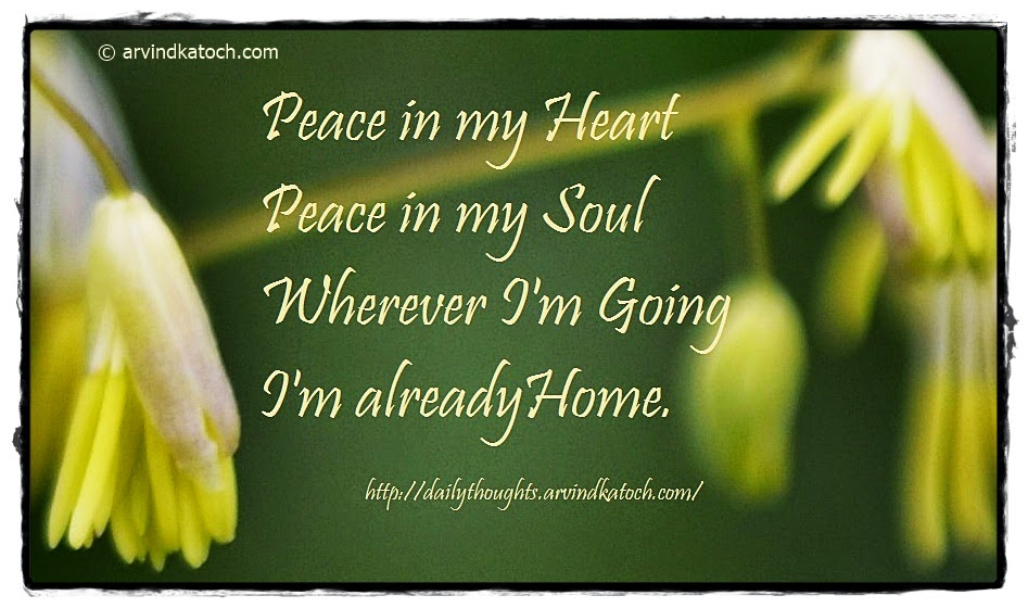 peace, mind, place, soul, daily quote, Thought