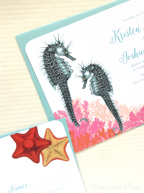 Aquarium Wedding Invitations from Concertina Press