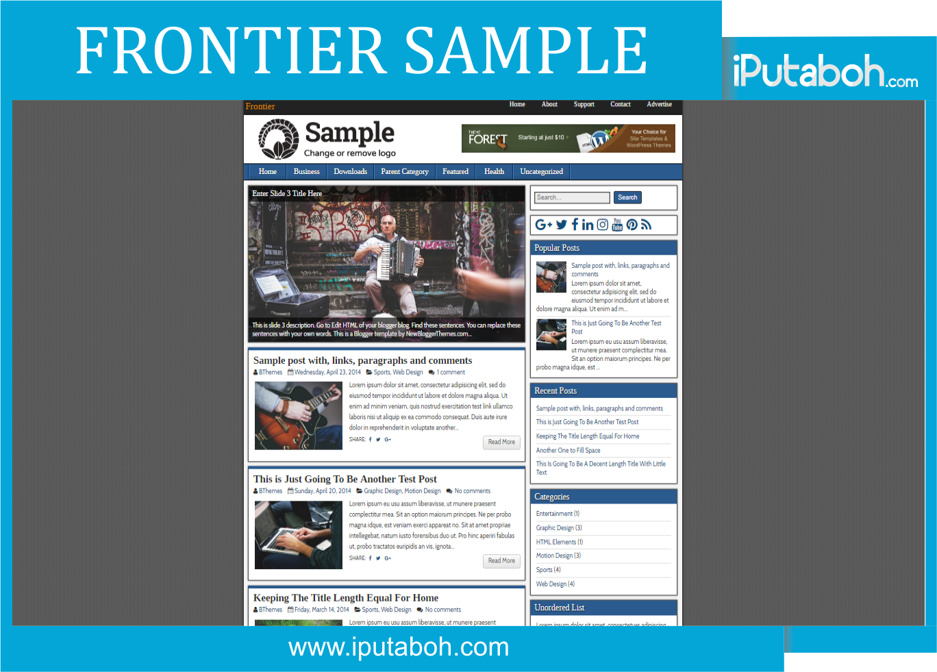 Frontier Sample Blogger Templates - iPutaboh : Blogger Templates