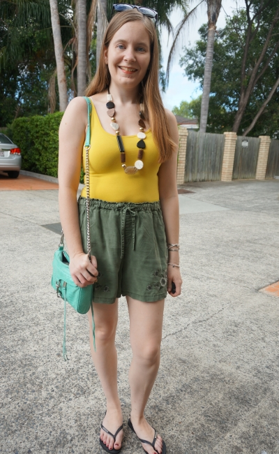 mustard tank, olive embroidered shorts, statement wooden necklace and aqua bag | away from blue
