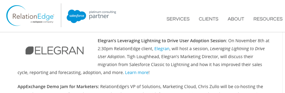 RelationEdge features Tigh Loughhead of Elegran speaking at Dreamforce 2017