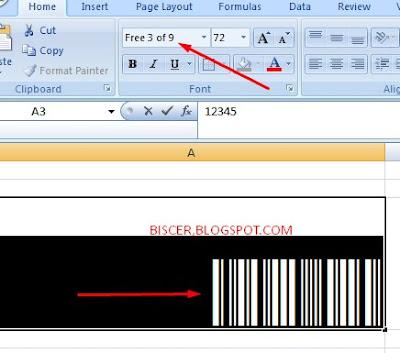 contoh barcode yang dibuat dari ms excel