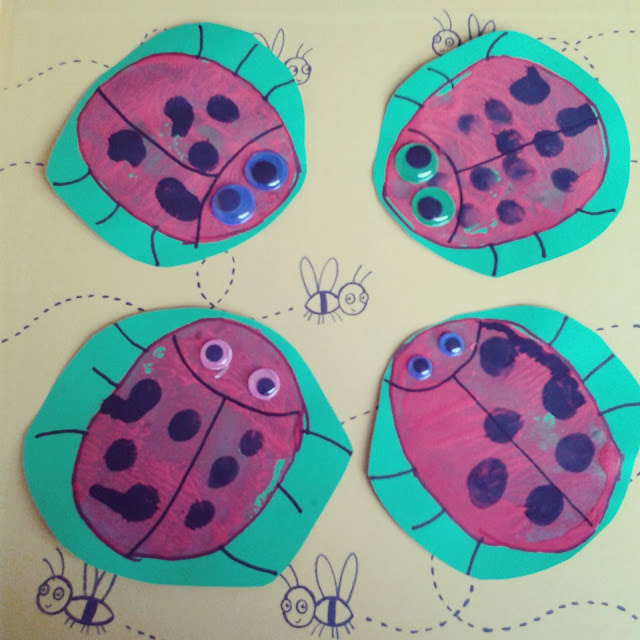 Potato print ladybirds