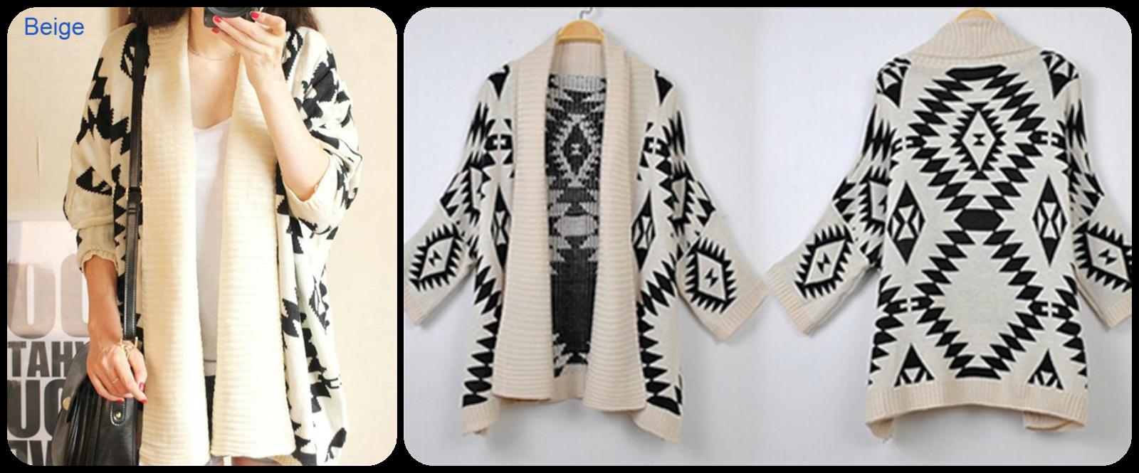 3c93822eaaf 11) Women's Geometric Pattern Open Front Loose Sweater Wrap Cape Cardigan  Πάμε τώρα σε μια ζακέτα, με υπέροχο σχέδιο την οποία θέλω πολύ να αποκτήσω!