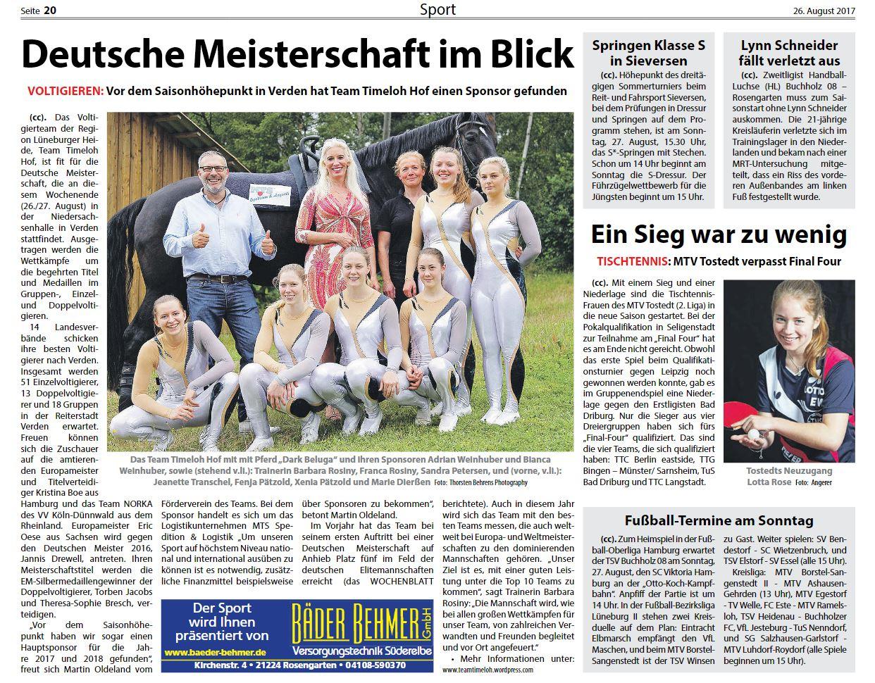 Fotoveröffentlichung für die Presse- & Öffentlichkeitsarbeit: Heute in der Kreiszeitung Wochenblatt Nordheide, Elbe & Geest vom 26. August 2017