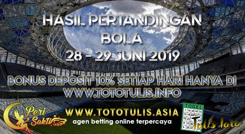 HASIL PERTANDINGAN BOLA TANGGAL 28 – 29 JUNI 2019