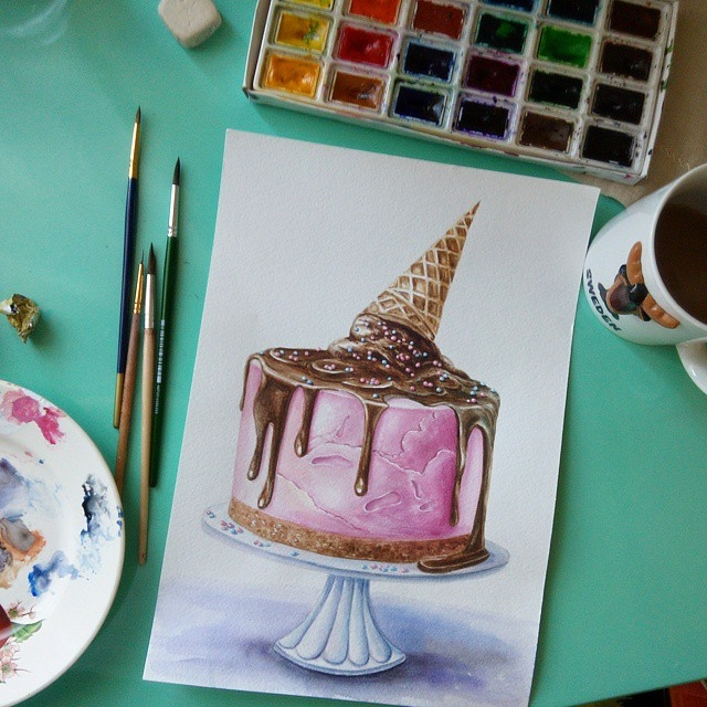 13-stepashkina-Cakes-Pastries-and-Drinks-Food-Art-Drawings-www-designstack-co