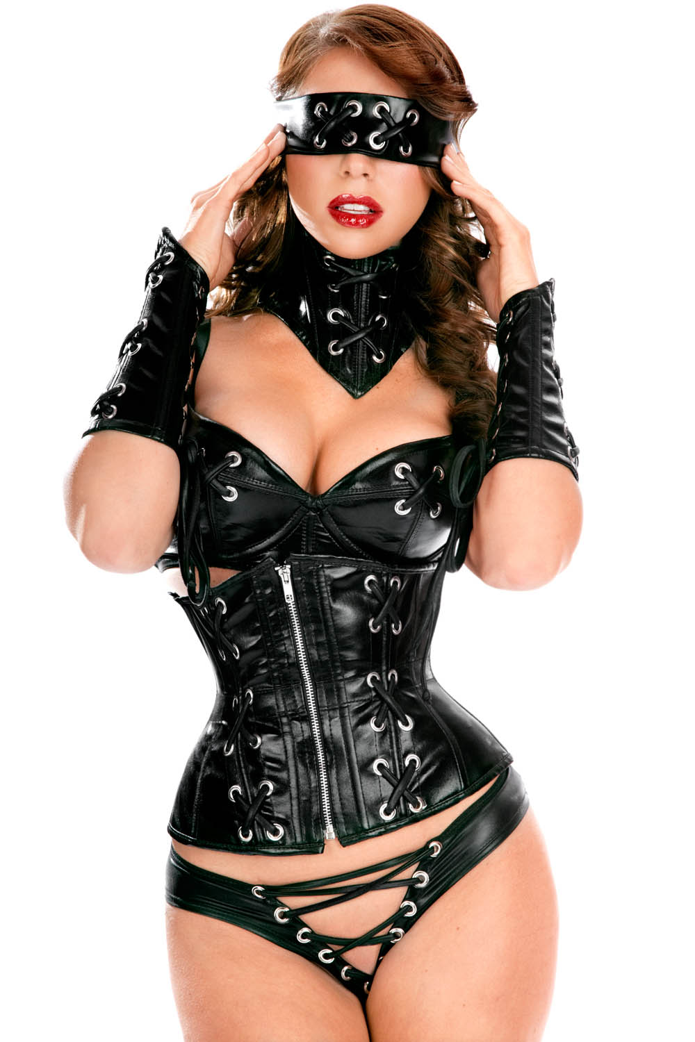 You thanks girls in leather corsets with you