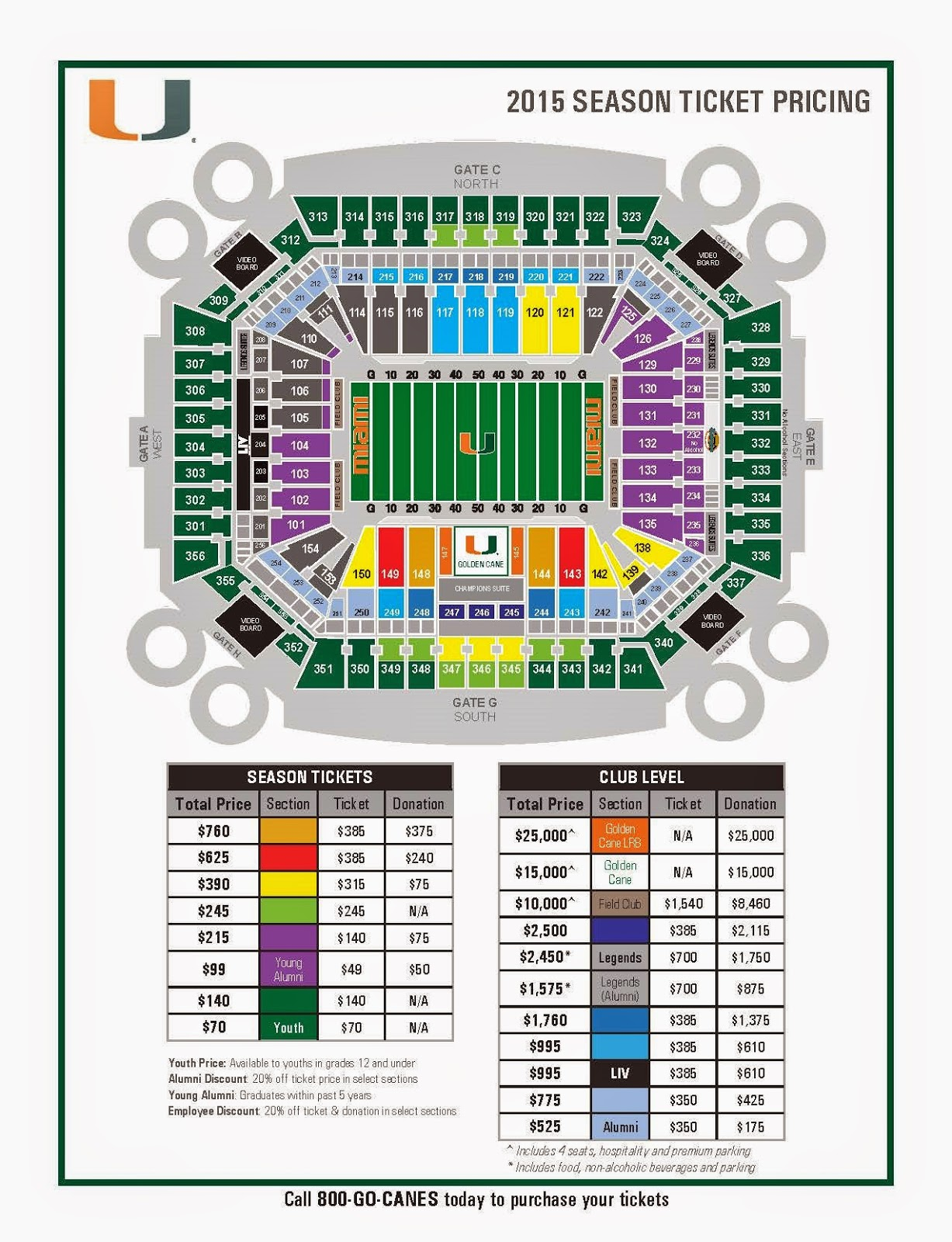 miami hurricanes ticket office: 2015 football seat map