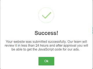 Konfirmasi Sukses Penambahan situs di PopCash