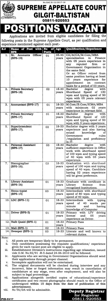 Jobs In Supreme Appellate Court Gilgit Baltistan 2018 for 24 Posts