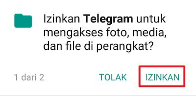 Izinkan Telegram untuk mengakses foto, media, dan file perangkat?