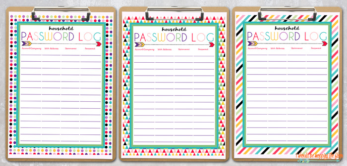 Free Printable Password Logs