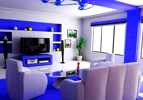 contoh ruang tamu konsep cat dinding warna biru minimalis