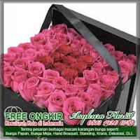 rangkaian bunga box mawar merah di bekasi