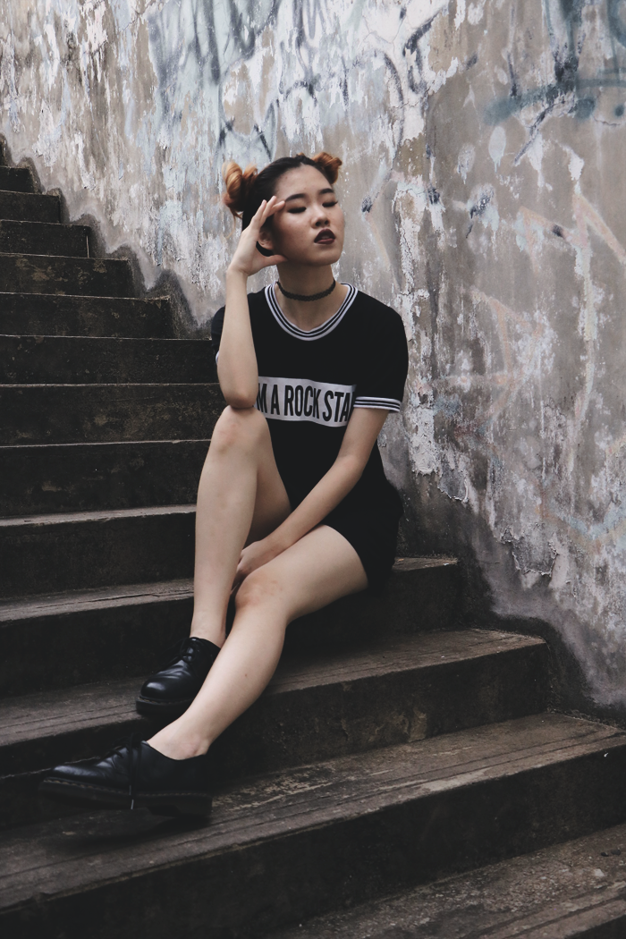 Brunei Blogger May Cho collaborates with photographer Arif Rafie, Grunge Goth Street-style space buns, experimental, fashion, style
