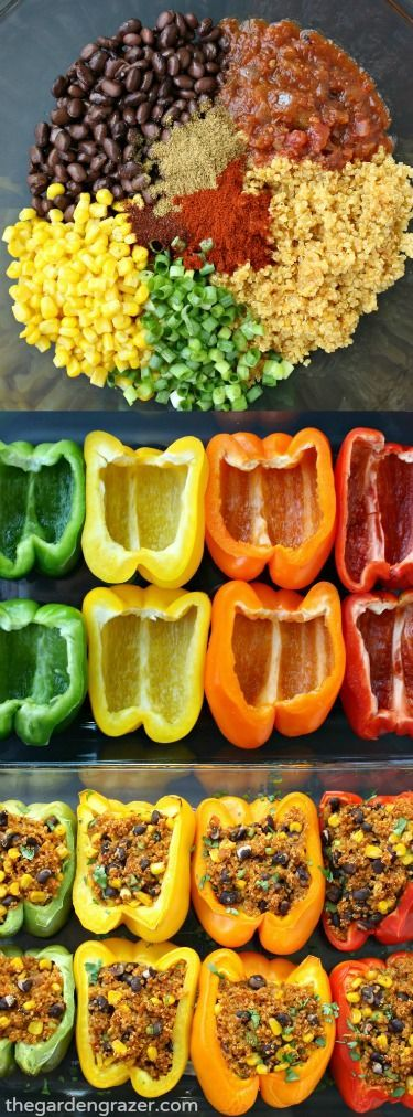 MEXICAN QUINOA STUFFED PEPPERS #mexican #quinoa #stuffed #peppers #vegan #veganrecipes #veggies #vegetarianrecipes