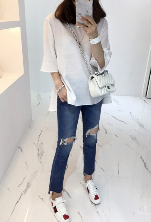 Side Slit Flared Blouse