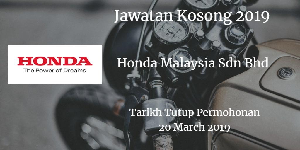 Jawatan Kosong Honda Malaysia Sdn Bhd 20 March 2019