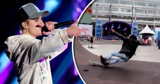 Justin Bieber trata de patinar: muerde el concreto dos veces