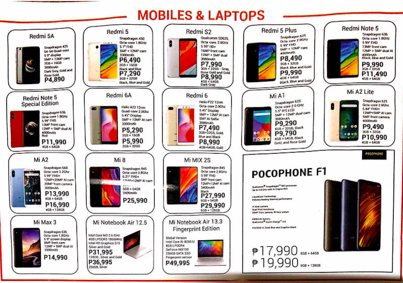 Xiaomi's smartphones and laptops