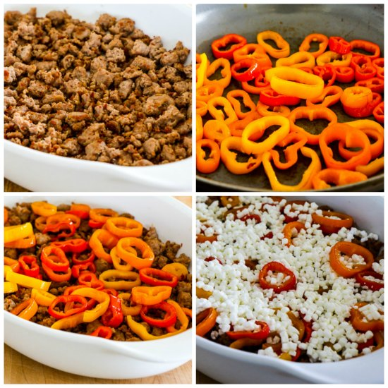 Low-Carb Italian Sausage and Sweet Mini-Peppers Breakfast Bake found on KalynsKitchen.com.