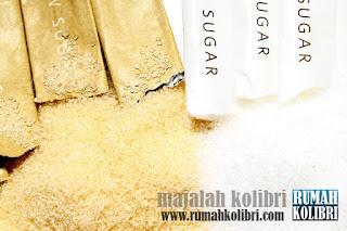 sukrosa (gula pasir), glukosa dan fruktosa untuk kolibri