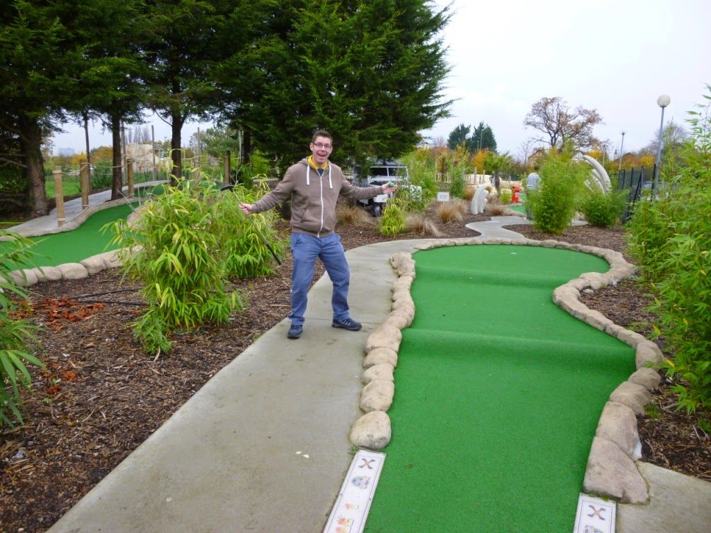 Minigolf explorer Richard Gottfried at the Jungle Island Adventure Golf course at Horton Park Golf Club in Epsom, Surrey