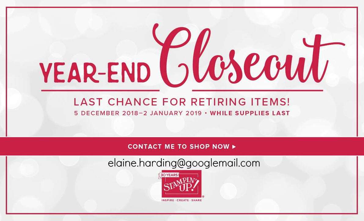YEAR-END  CLOSEOUT - LAST CHANCE FOR RETIRING ITEMS