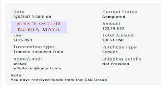 Bukti pembayaran W3Adz terbaru