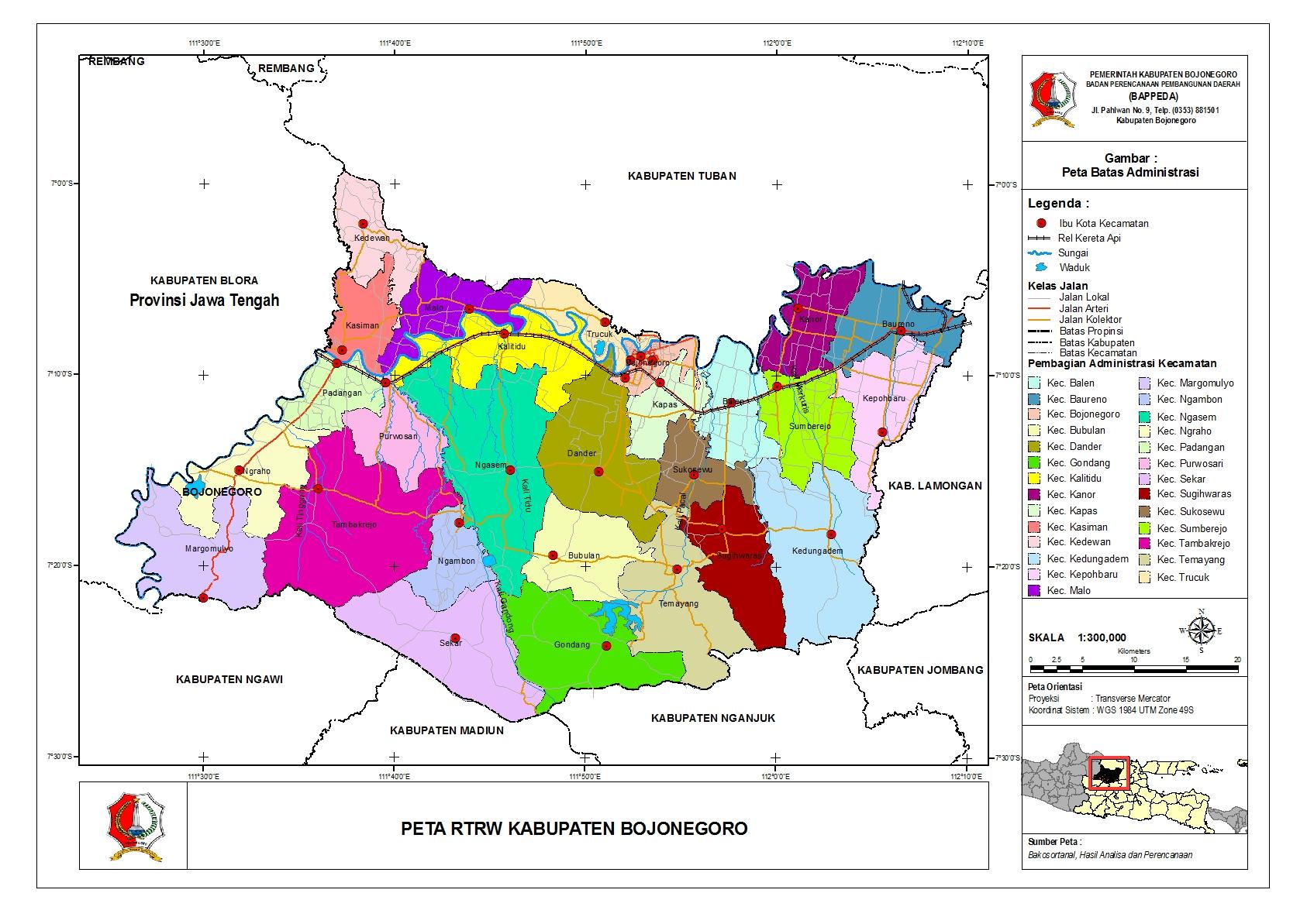 Peta Kota: Peta Kabupaten Bojonegoro