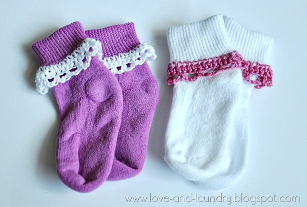 Sharp Crochet Hook Crochet Edging On Baby Socks With Love And Laundry