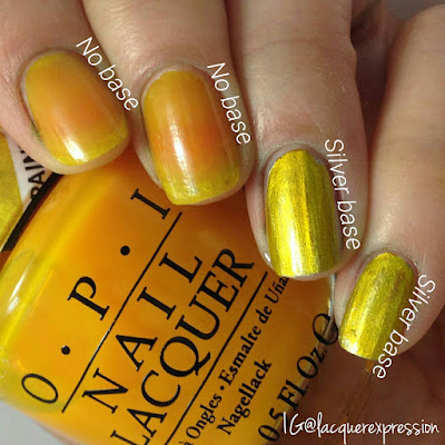 swatch of primarily yellow nail polish from the opi color paint collection