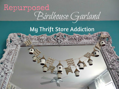 Shop Your Home: Repurposed Birdhouse Garland  mythriftstoreaddiction.blogspot.com Christmas ornaments repurposed as garland