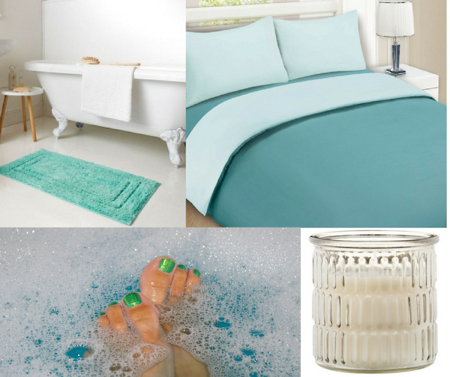 A collage showing a bath tub with bath mat, a teal duvet cover, toes in a bubble bath and a bamboo style glass candle