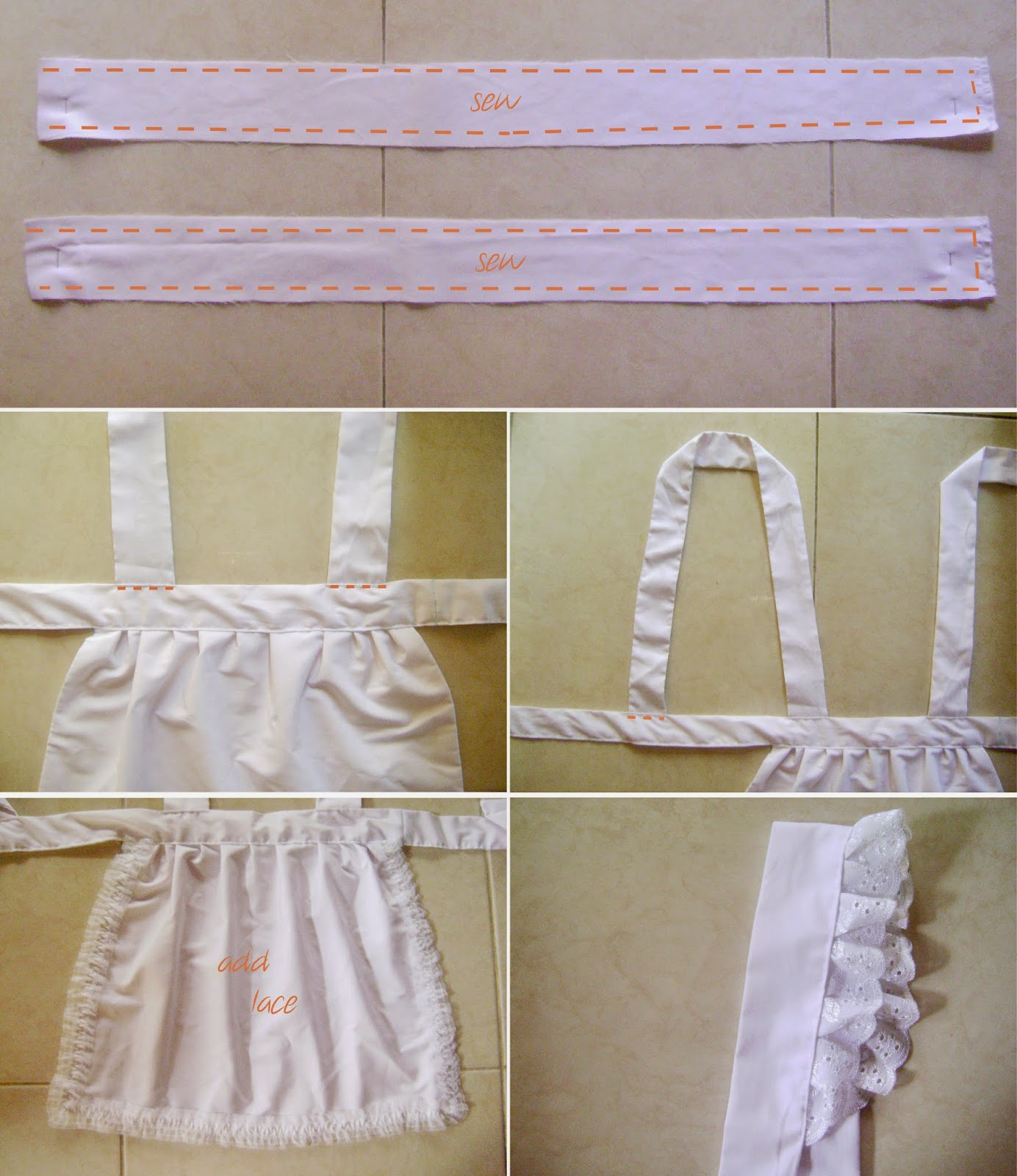 DIY Maid Costume Appron Tutorial