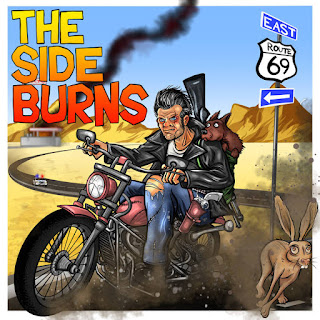 cartoon image man with gun and dog on a motorcycle in American West Route 69.