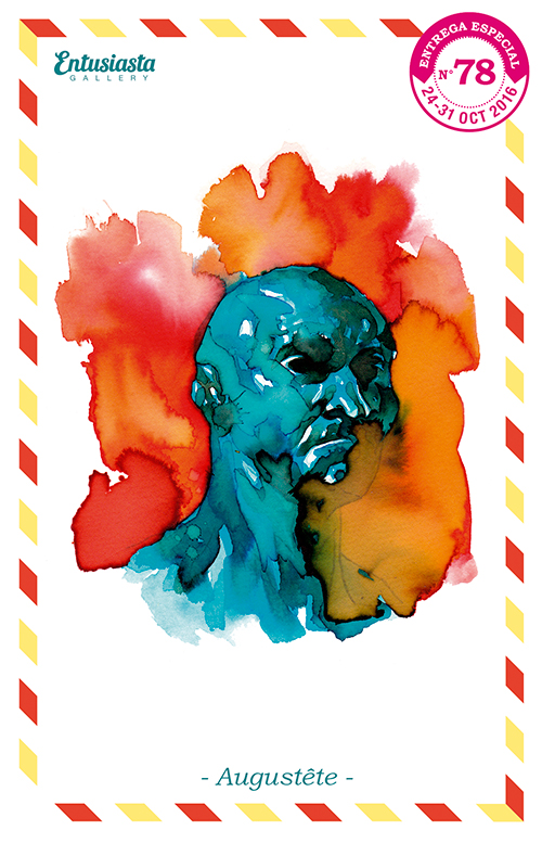 Tête d'homme peint avec des encres colorées.