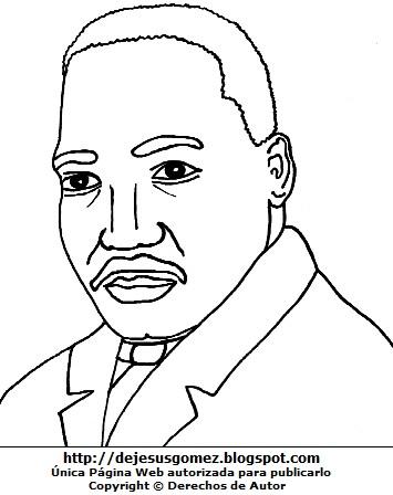 Ilustración de Martín Luther King para dibujar y colorear para niños. Martín Luther King hecho por Jesus Gómez