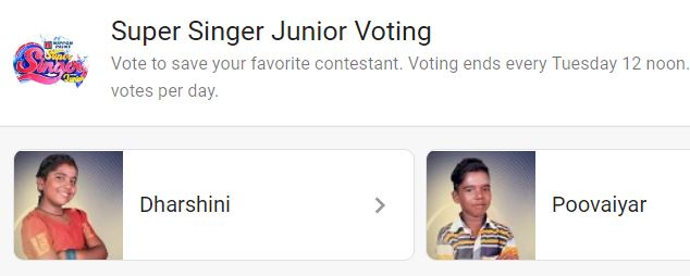 Super Singer Voting | Super Singer Vote for Poovaiyar and Harsha