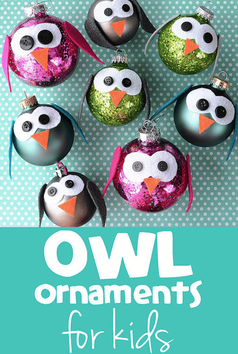 owl ornaments made by kids