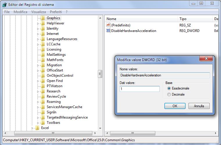 Office, Disattiva accelerazione grafica hardware tramite Editor del Registro di sistema