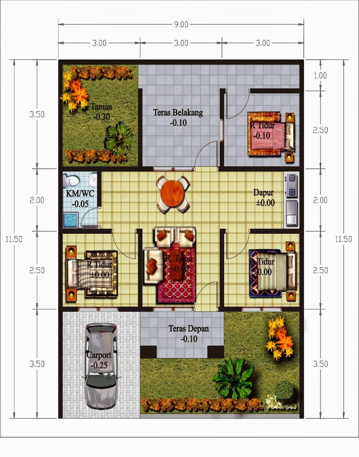 contoh gambar denah rumah btn asri 3