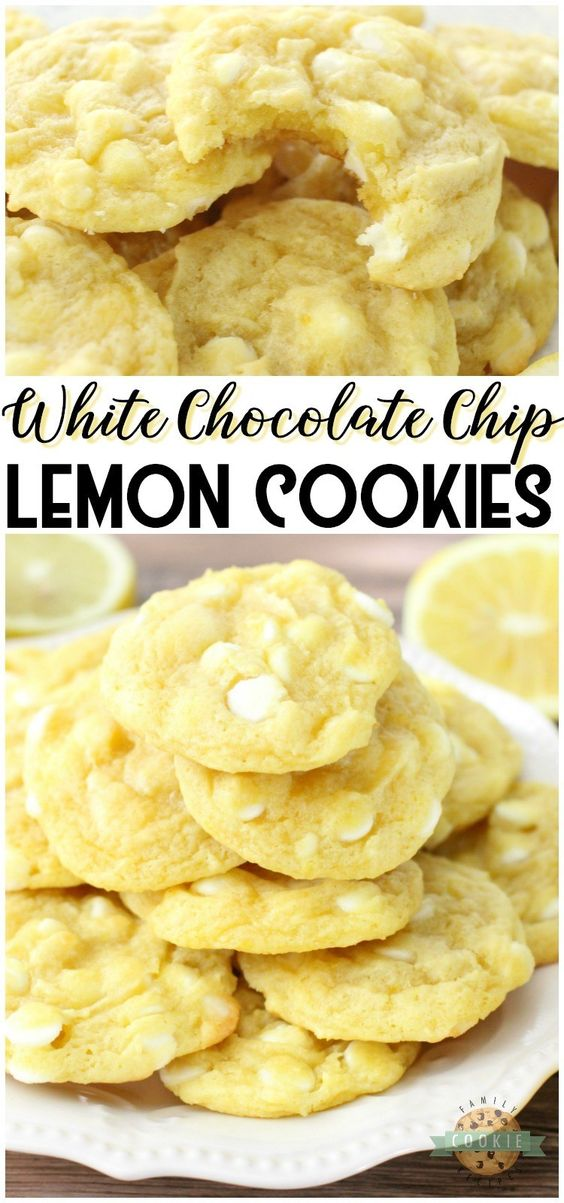 WHITE CHOCOLATE CHIP LEMON COOKIES - White Chocolate Chip Lemon Cookies are soft, chewy and perfectly sweet lemon cookies! White chocolate chips & lemon pudding mix add great flavor and texture to these delicious spring cookies. #cookies #lemon #baking #dessert #cookie #recipe from Family Cookie Recipes