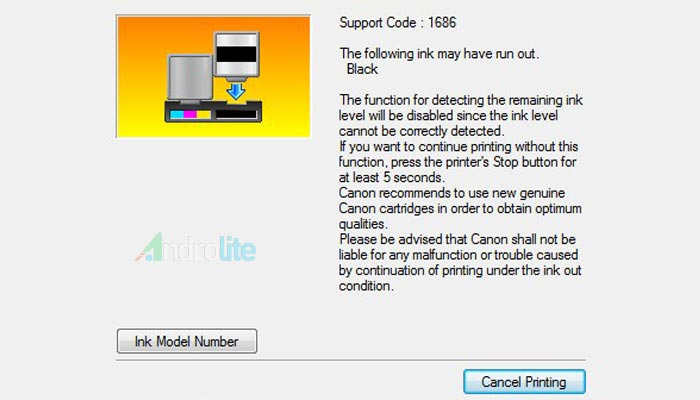 Error Printer Canon The Following Ink May Have Run Out