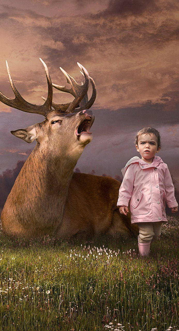 Deer and child.