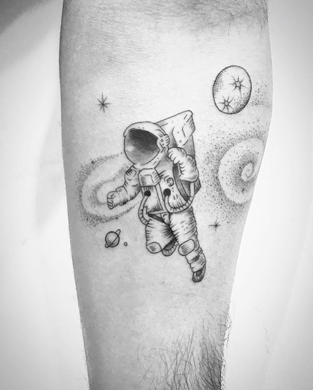 full arm astronaut floating tattoo
